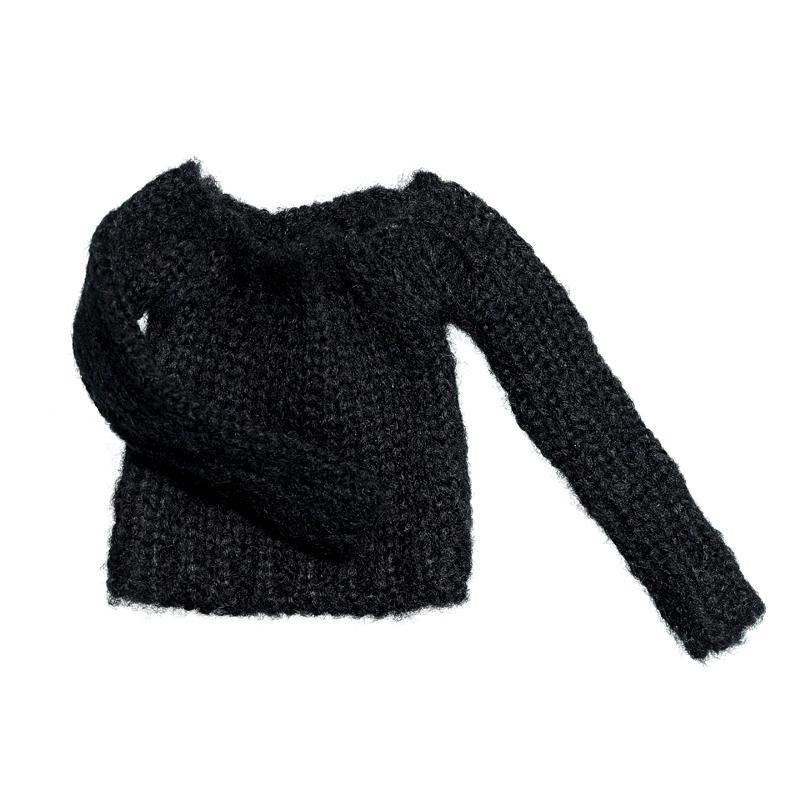 Photo1: Short length Bulky Knit, Black / ショート丈バルキーニット ブラック (1)