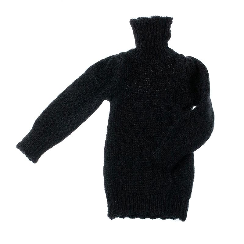 Photo1: Dress: Knit Tunic for momoko, Black. /ニットチュニック ブラック (1)