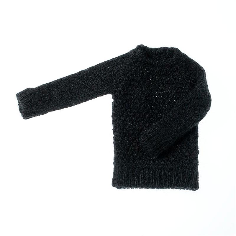 Photo1: Dress: Moss Stitch Knit Pullover for ruruko, Black. /鹿の子プルオーバーニット ブラック (1)