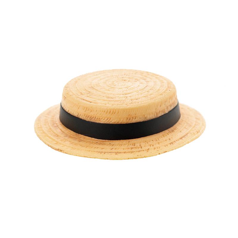Photo1: Sekiguchi, Boater, Beige x Black Ribbon / カンカン帽 ベージュ×黒リボン (1)