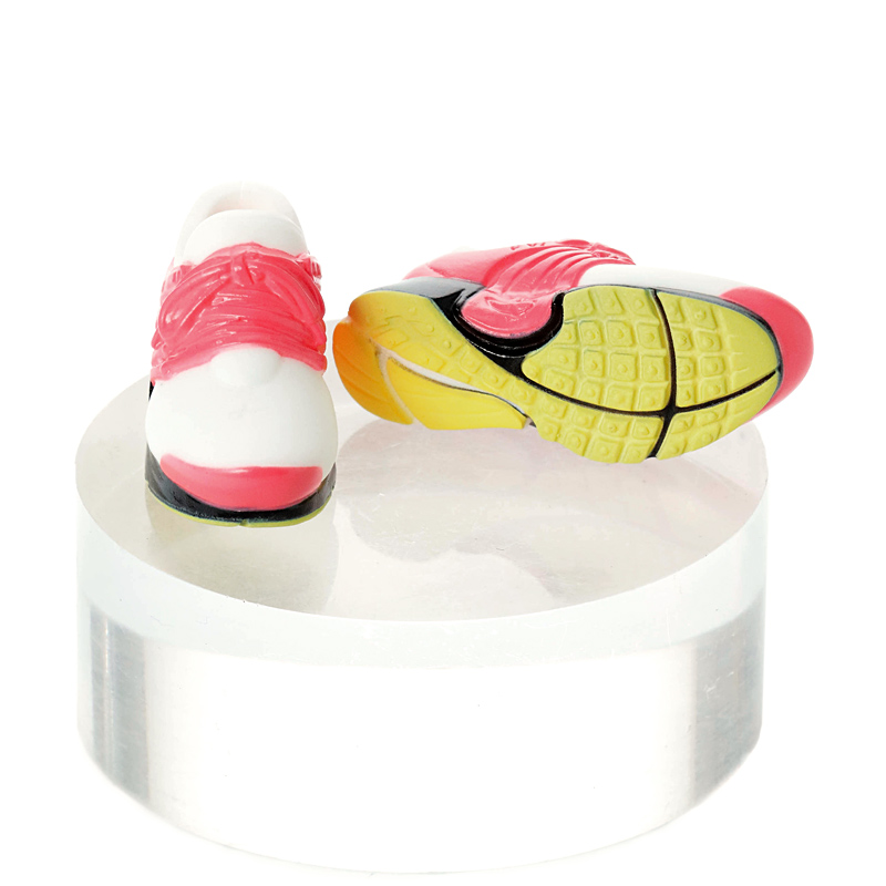 Photo1: Running Shoes, White×Pink / ハイテクスニーカー ホワイト×ピンク (1)