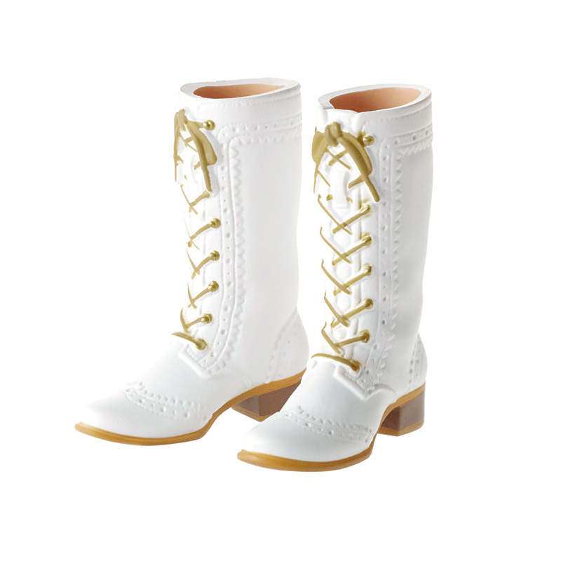 Photo1: Mid-Calf Lace-Up Boots, Off-White / レースアップミドルブーツ オフホワイト (1)