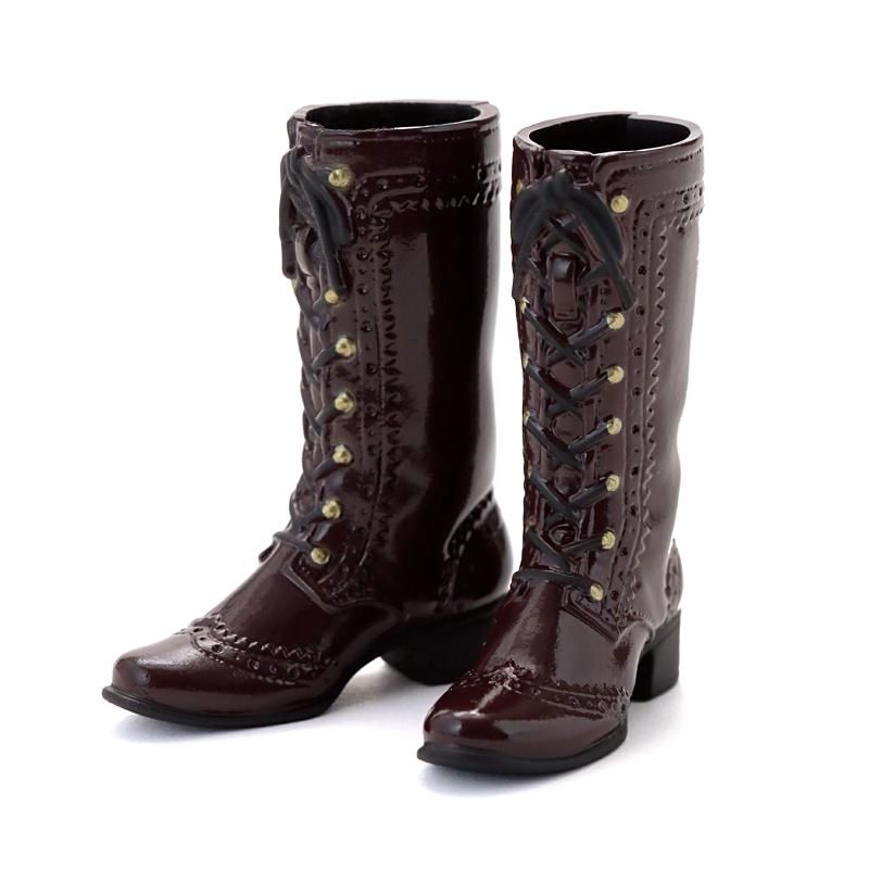 Photo1: Mid-Calf Lace-Up Boots, Enamel-Brown / レースアップミドルブーツ エナメルブラウン (1)