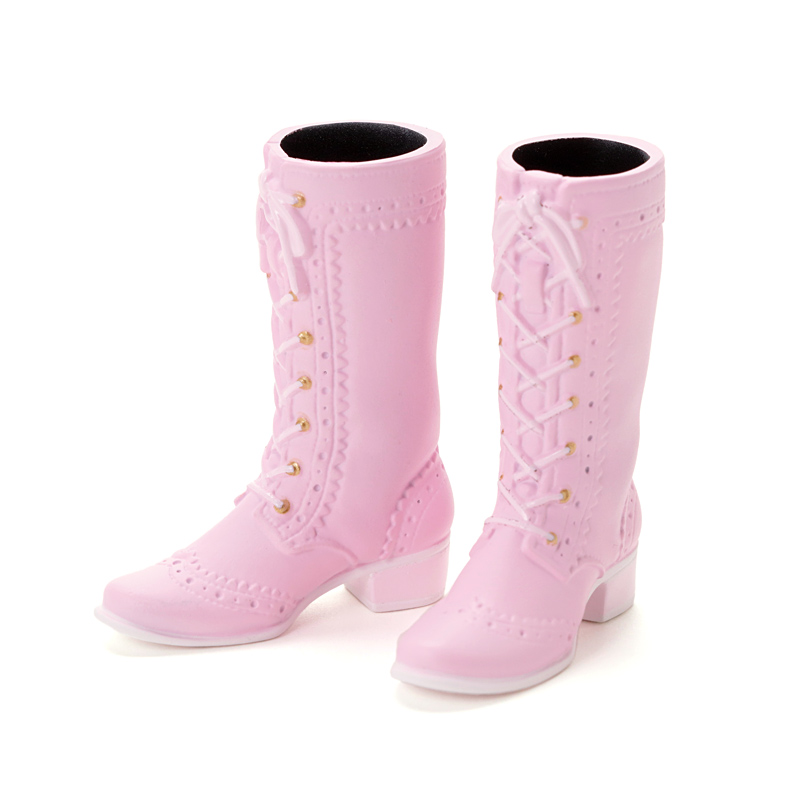 Photo1: Mid-Calf Lace-Up Boots, Rose-Pink / レースアップミドルブーツ ローズピンク (1)