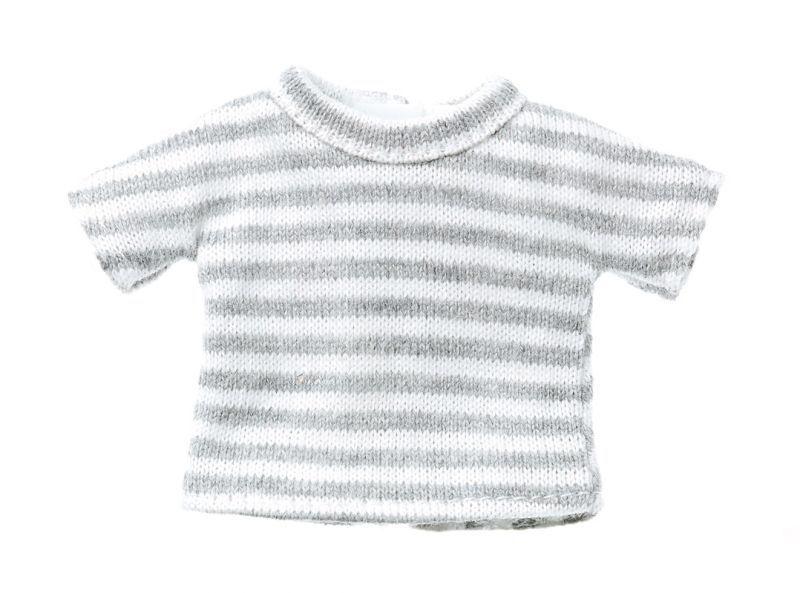Photo1: Dress: Stripe T Shirt, Gray, for ruruko / グレーボーダーTシャツ (1)