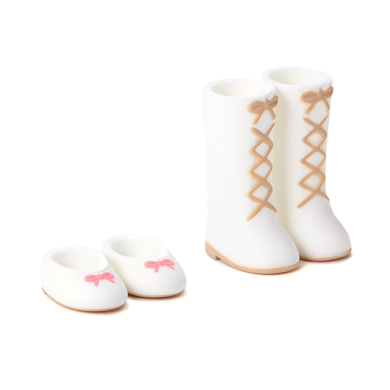 Photo1: DecoNiki Shoes, Ballet Flats & Lace-up Boots Set A, White/White / バレエシューズ・編上げブーツセット A (ホワイト/ホワイト) (1)