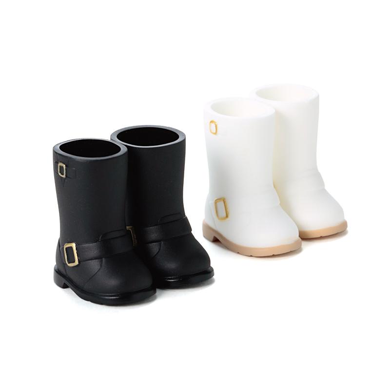 Photo1: DecoNiki Shoes, Engineer Boots Set A, Black/White / エンジニアブーツセット A (ブラック/ホワイト) (1)