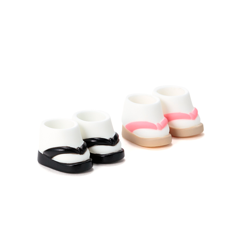 Photo1: DecoNiki Shoes, ZOURI Set A, Black/Pink / ぞうりセット A (ブラック/ピンク) (1)