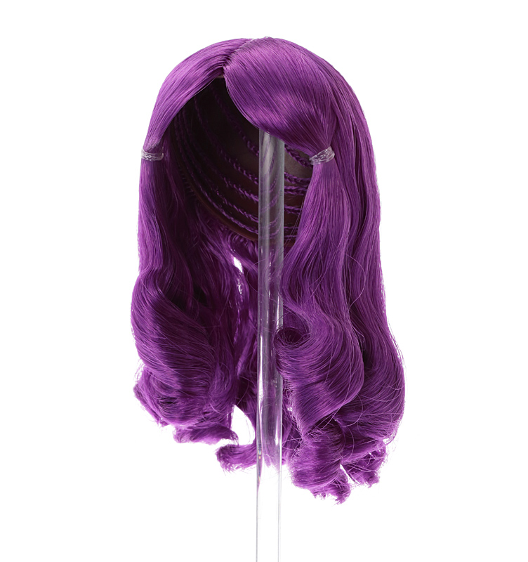 Photo1: 7-8 inch Doll Wig,  Loose Roll Wig, Purple/ルーズロールウィッグ パープル (1)
