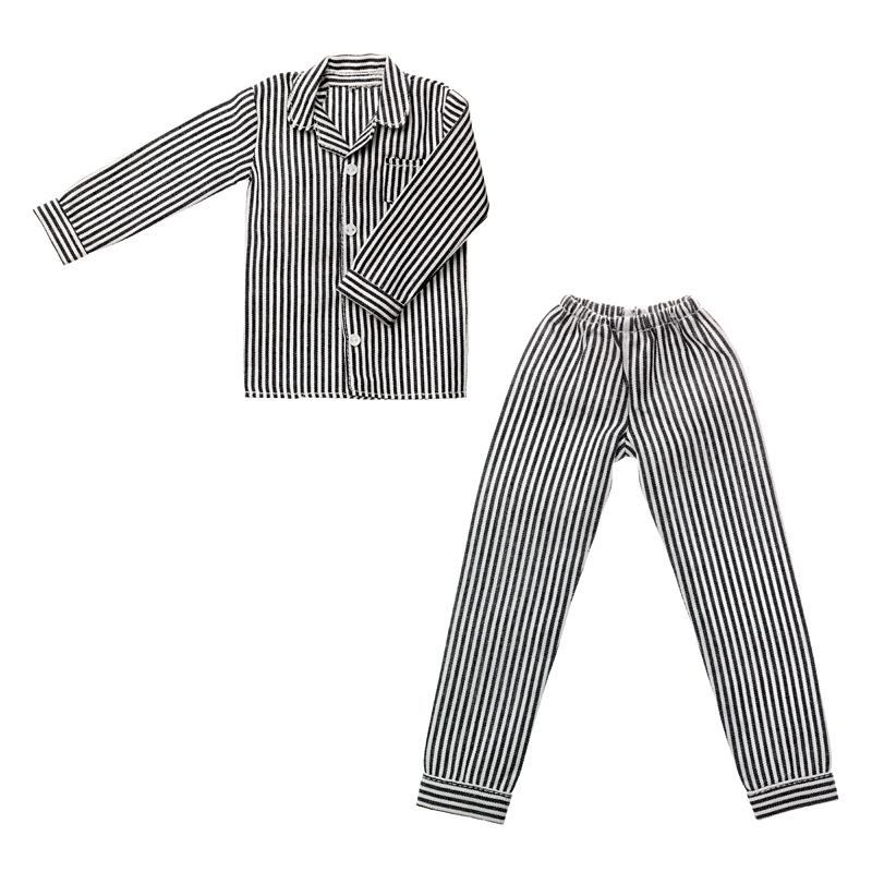 Photo1: Dress: Men's Pajamas, Black Stripes / メンズパジャマ ブラックストライプ (1)