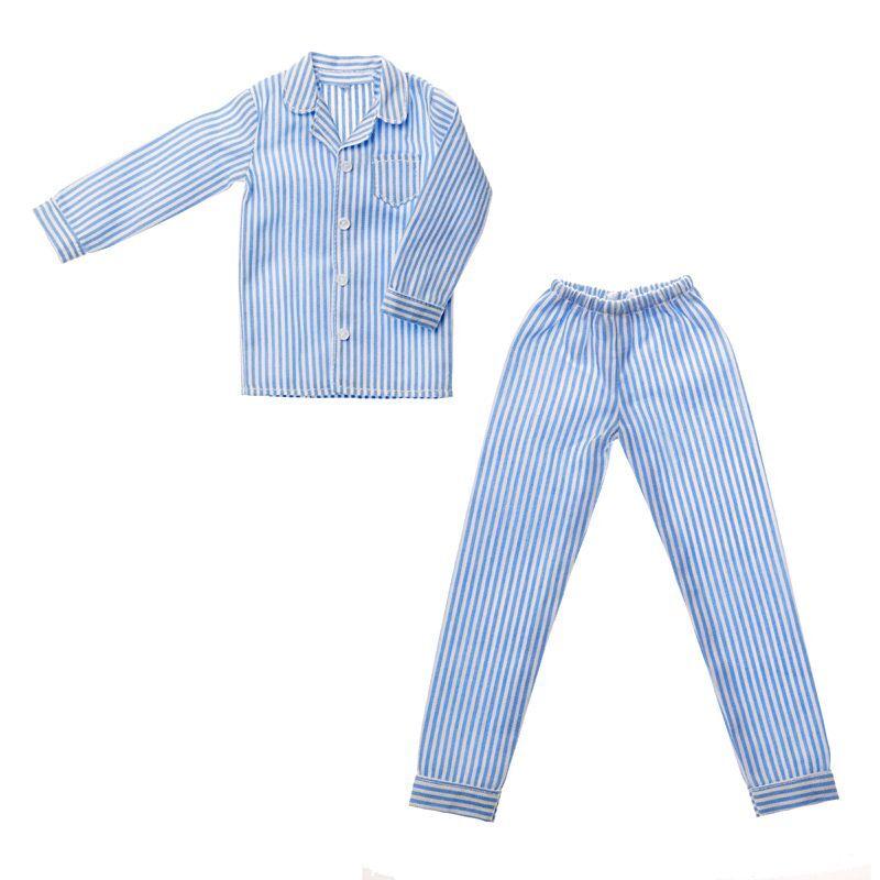 Photo1: Dress: Men's Pajamas, Blue Stripes / メンズパジャマ ブルーストライプ (1)
