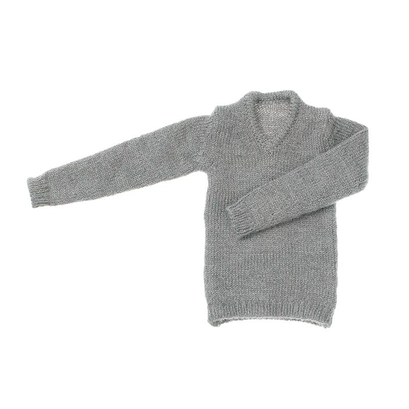 Photo1: Dress: Men's V-Neck Knit, Heather Gray / メンズVネックニット 杢グレー (1)