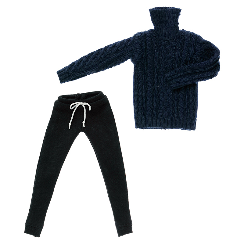 Photo1: Turtleneck Set for One-sixth scale Boys & Male Album, Navy / メンズタートルニットセット ネイビー (1)